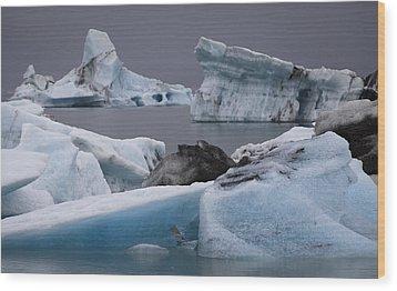 Icebergs Wood Print by Arnar B Gudjonsson