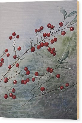 Iced Holly Wood Print