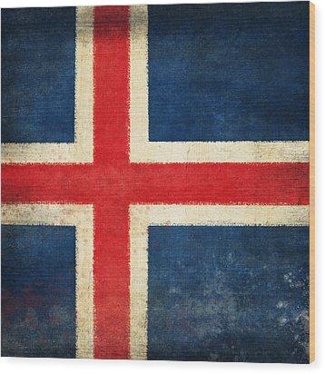 Iceland Flag Wood Print by Setsiri Silapasuwanchai