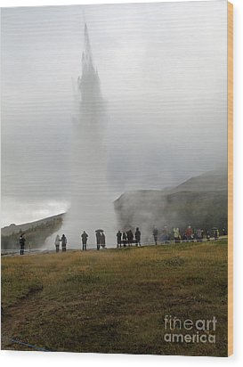 Iceland Geyser Wood Print by Louise Peardon
