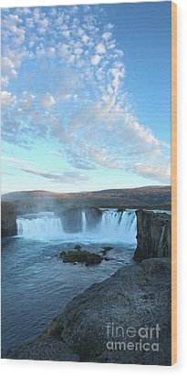 Iceland Godafoss Waterfall - 07 Wood Print by Gregory Dyer