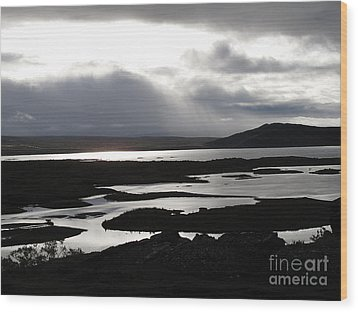 Iceland Landscape Wood Print by Louise Peardon