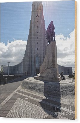 Iceland Leif Erricson Statue 02 Wood Print by Gregory Dyer