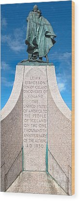 Iceland Leif Erricson Statue Wood Print by Gregory Dyer