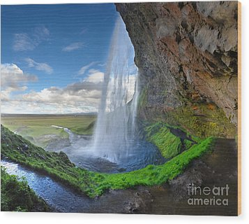 Iceland Waterfall Seljalandsfoss 02 Wood Print by Gregory Dyer