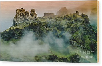 Icelandic Mist Wood Print by Michael Canning