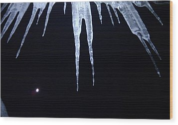 Icicle Moon Wood Print by Aaron Warner