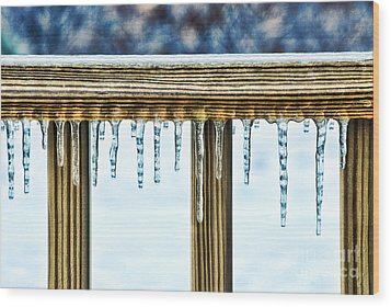 Icicles Wood Print by HD Connelly