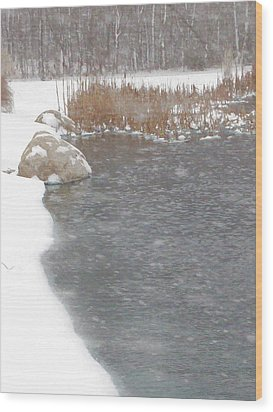 Wood Print featuring the photograph Icy Pond by John Crothers