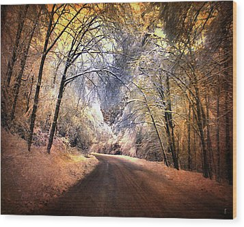 Icy Road Wood Print by Jai Johnson