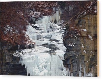 Icy Waterfalls Wood Print by Paul Ge