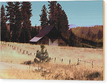 Idaho Barn Painting Wood Print by Mary Gaines
