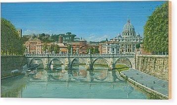 Il Fiumi Tevere Roma Wood Print by Richard Harpum