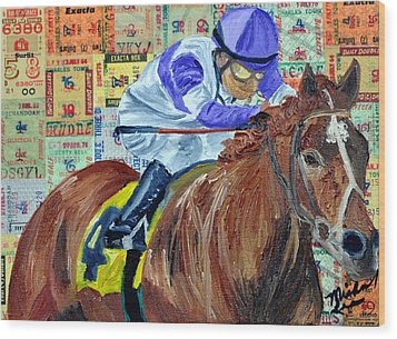 I'll Have Another Wins Wood Print by Michael Lee
