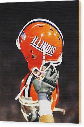 Illinois Football Helmet  Wood Print by University of Illinois