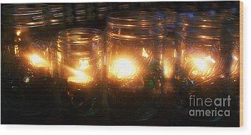 Illuminated Mason Jars Wood Print by Christy Beal