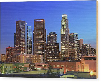 Illuminated Of Downtown Skyscrapers Wood Print by Kenny Hung Photography