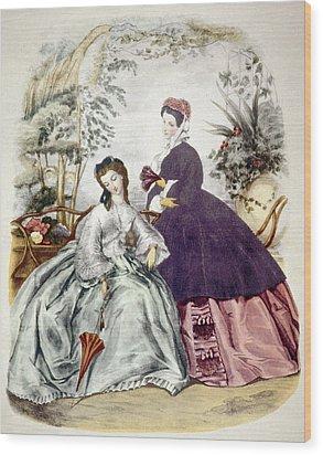 Illustration Of 19th Century Fashions Wood Print by Everett
