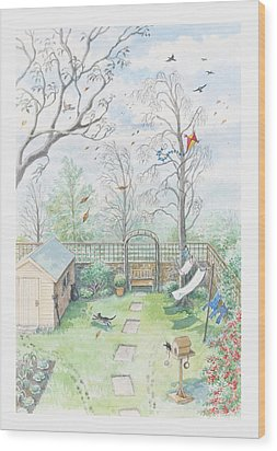 Illustration Of A Garden As A Storm Is Developing Wood Print by Dorling Kindersley