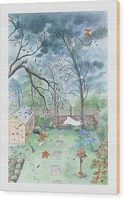Illustration Of A Garden During A Storm Wood Print by Dorling Kindersley