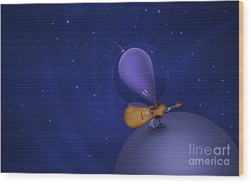 Illustration Of A Martian Playing Wood Print by Vlad Gerasimov