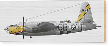 Illustration Of A Martin-b-26 Marauder Wood Print by Chris Sandham-Bailey
