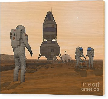 Illustration Of Astronauts Setting Wood Print by Walter Myers