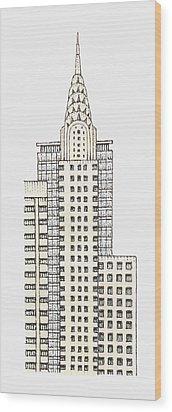 Illustration Of Chrysler Building, New York City Wood Print by Dorling Kindersley