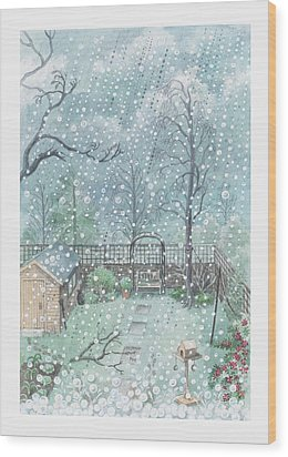 Illustration Of Rain Or Wet Snow Against A Window Looking Out Onto A Garden Wood Print by Dorling Kindersley