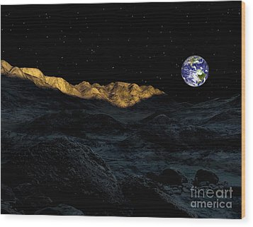 Illustration Of The Peaks Surrounding Wood Print by Ron Miller