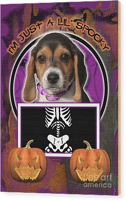 I'm Just A Lil' Spooky Beagle Puppy Wood Print by Renae Laughner