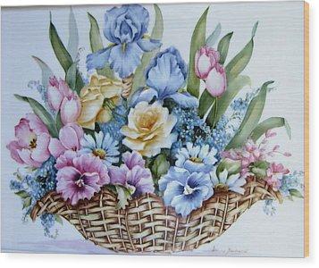 Image 1119 Flower Basket Wood Print by Wilma Manhardt