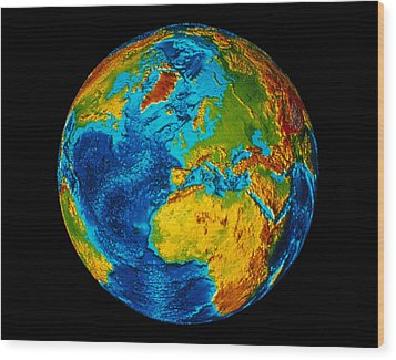 Image Of Earth Generated By Computer Graphics Wood Print by Stocktrek