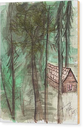Imaginary Cabin Wood Print by Windy Mountain
