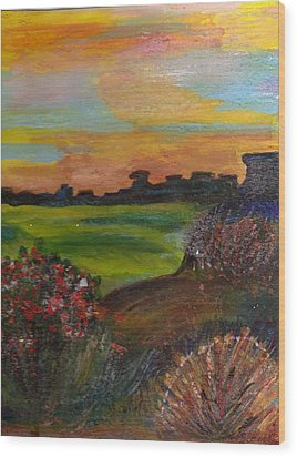 Imaginary View Of Golf Course Wood Print by Anne-Elizabeth Whiteway