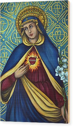 Immaculate Heart Wood Print by Valerie Vescovi