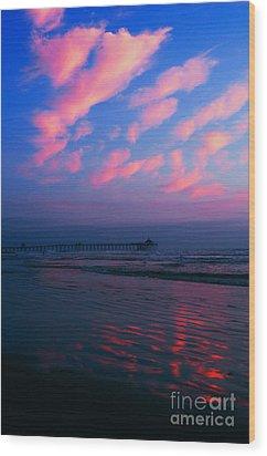 Imperial Beach At Dusk Wood Print by Sabino Cruz