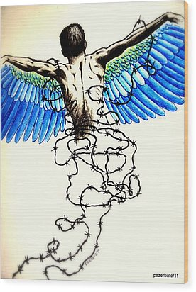 Impossibility To Escape Faced With Life Wood Print by Paulo Zerbato