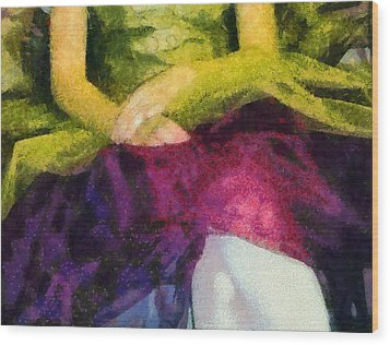 Impression Of A Ballerina Lap Wood Print by Angelina Vick