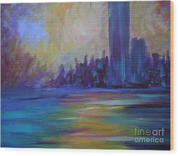 Impressionism-city And Sea Wood Print by Soho