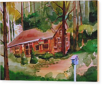 In A Cottage In The Woods Wood Print by Mindy Newman