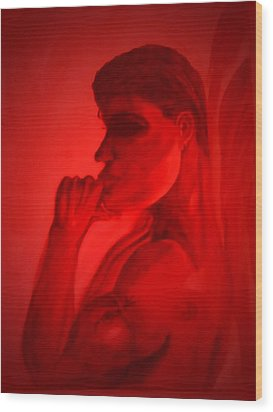 In A Red Mood Wood Print by Marian Hebert