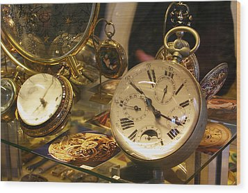 In A Watch Museum Wood Print by Carl Purcell