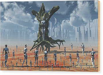 In An Alternate Reality Cyborgs Pay Wood Print by Mark Stevenson