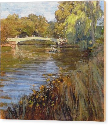 In Central Park - Summer Afternoon Near Bow Bridge Wood Print