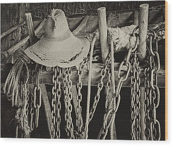Wood Print featuring the photograph In The Barn by Nancy De Flon