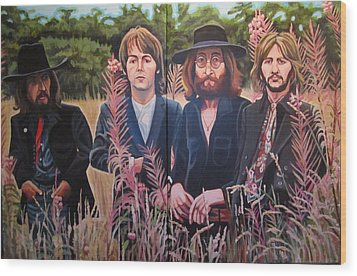 In The Field The Beatles Wood Print by Sandra Ragan