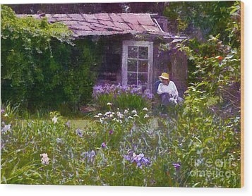 In The Iris Garden Wood Print by Susan Isakson