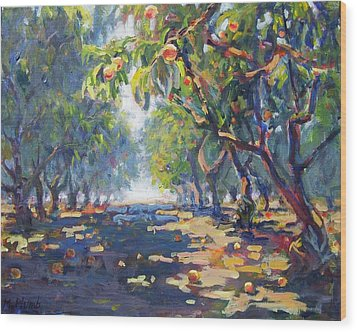 In The Peach Orchard Wood Print by Margaret  Plumb