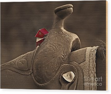 In The Saddle Wood Print by Susan Candelario